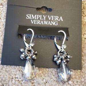 NWT Simply Vera Wang Silver Beaded Earrings